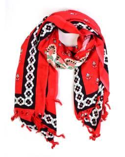 Červený sárong, floral design, 110x160cm