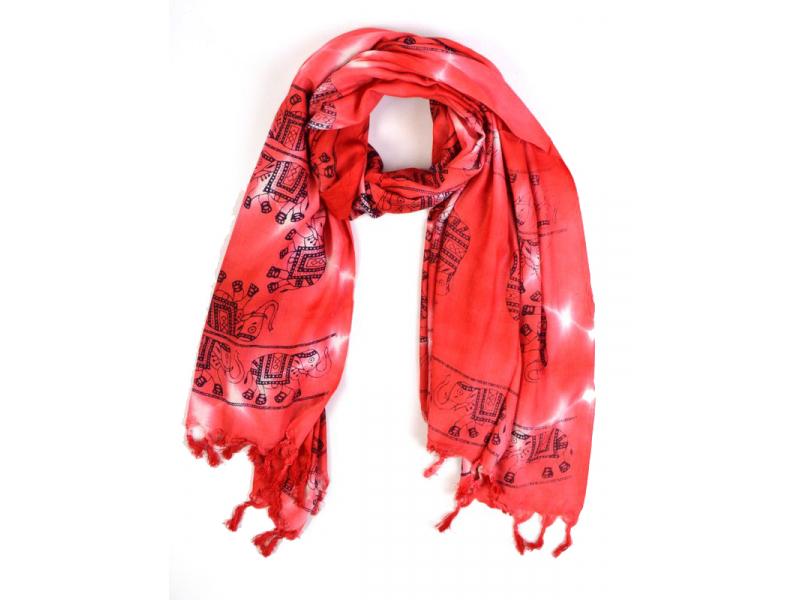 Červený sárong, elephant design, 100x170cm