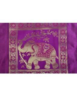 Růžový povlak na polštář, slon, bohatá zlatá výšivka, 40x40cm