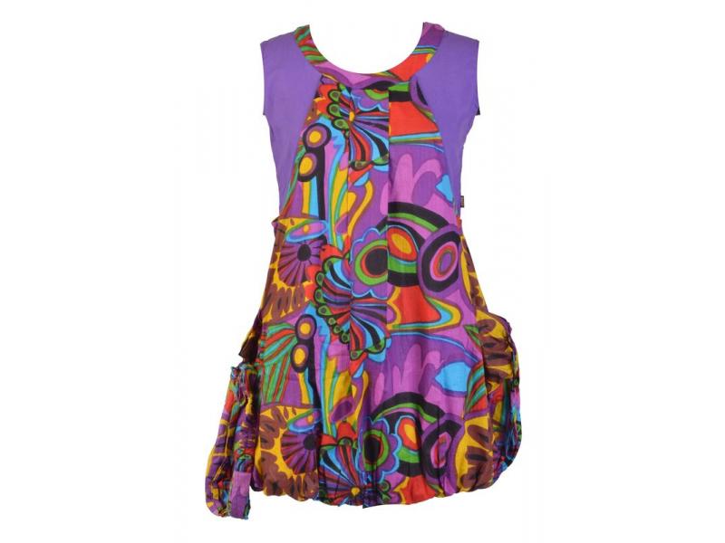 """Šaty, krátké, balonové, """"Flower design"""", fialové, kapsy + bandana"""