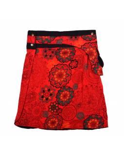 Polodouhá červená sukně zapínaná na patentky, kapsa, mandala print