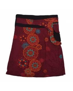 Polodouhá vínová sukně zapínaná na patentky, kapsa, mandala print