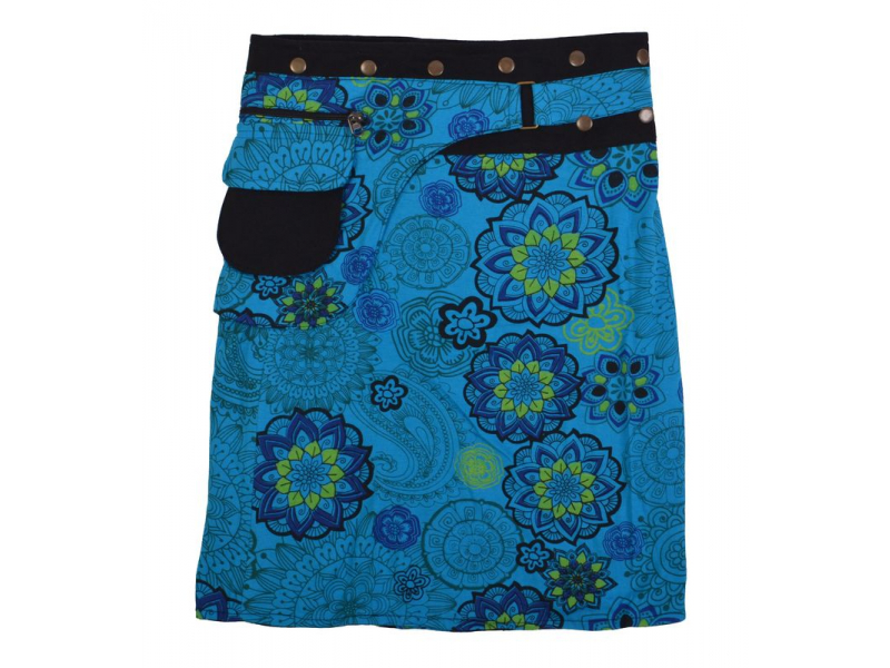 Polodouhá tyrkysová sukně zapínaná na patentky, kapsa, mandala print