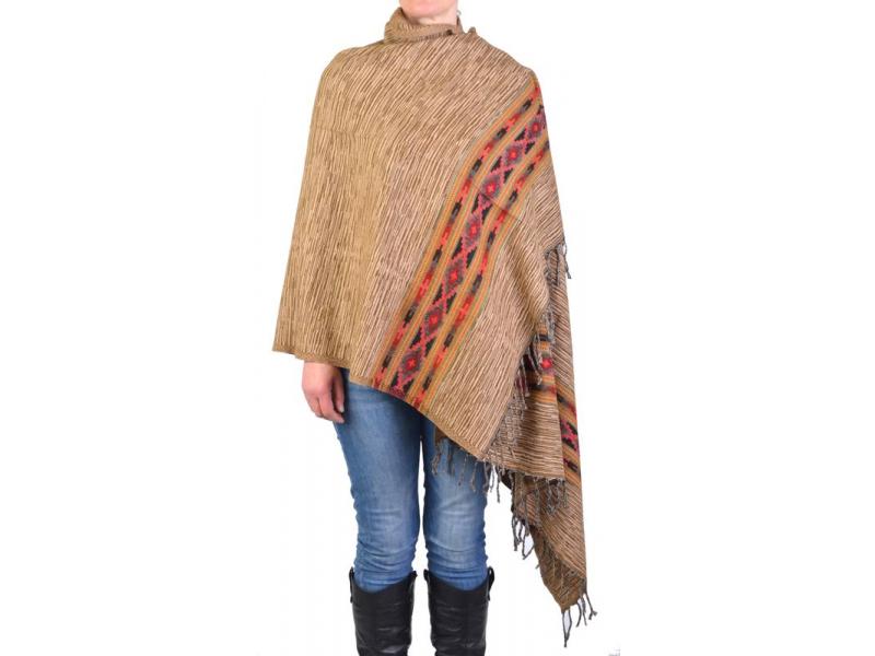 Velký zimní šál s geometrickým vzorem, béžový, 205x90cm