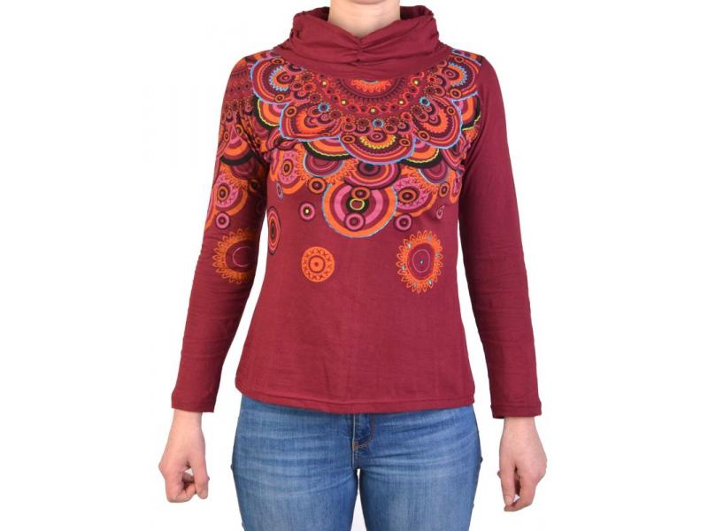 Vínové tričko s dlouhým rukávem a límcem, mandala design