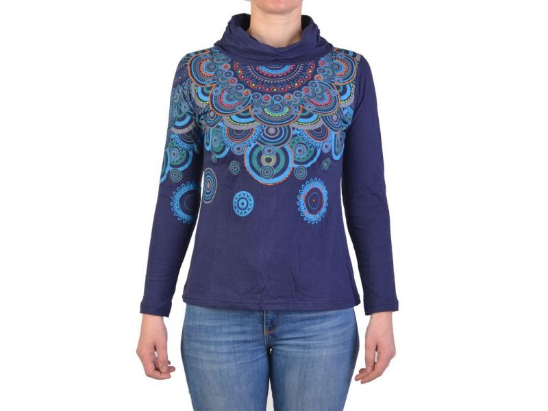 Tmavě modré tričko s dlouhým rukávem a límcem, mandala design