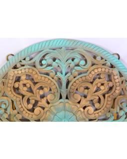 Mandala ručně vyřezávaná z mangového dřeva, tyrkysovo-zlatá patina, 107x7x107cm
