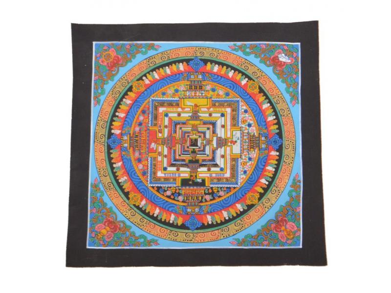 Tanka, malba na plátně, Kalachakra mandala, 32x32cm