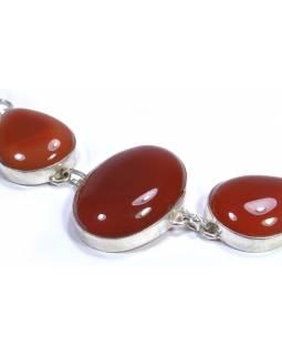 Náramek vykládaný oranžovým onyxem, postříbřený (10µm)