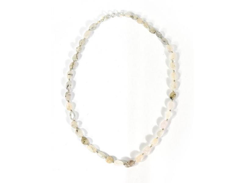 Zapínací náhrdelník s korálky z black hair, postříbřený (10µm), 44cm