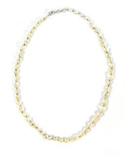 Zapínací náhrdelník s korálky z citrínu, postříbřený (10µm), 44cm