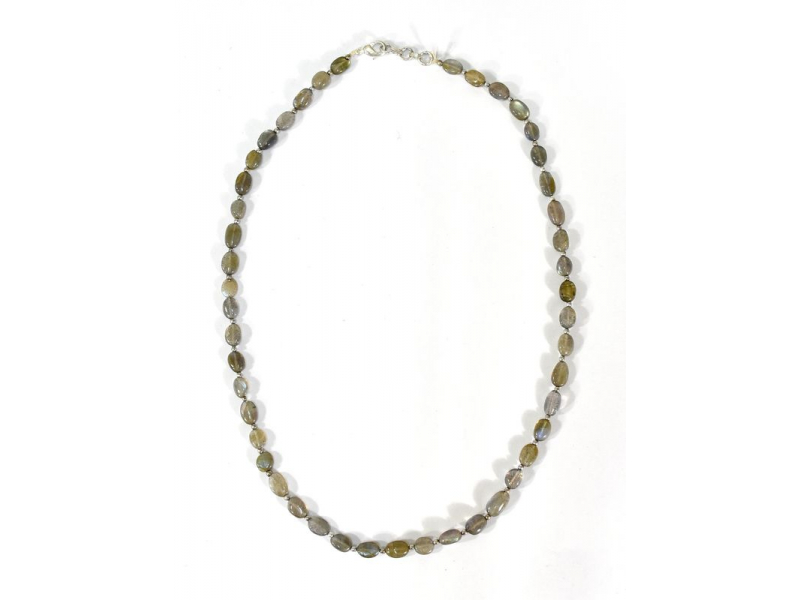 Zapínací náhrdelník s korálky z labradoritu, postříbřený (10µm), 44cm