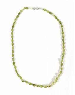 Zapínací náhrdelník s korálky z peridotu, postříbřený (10µm), 44cm