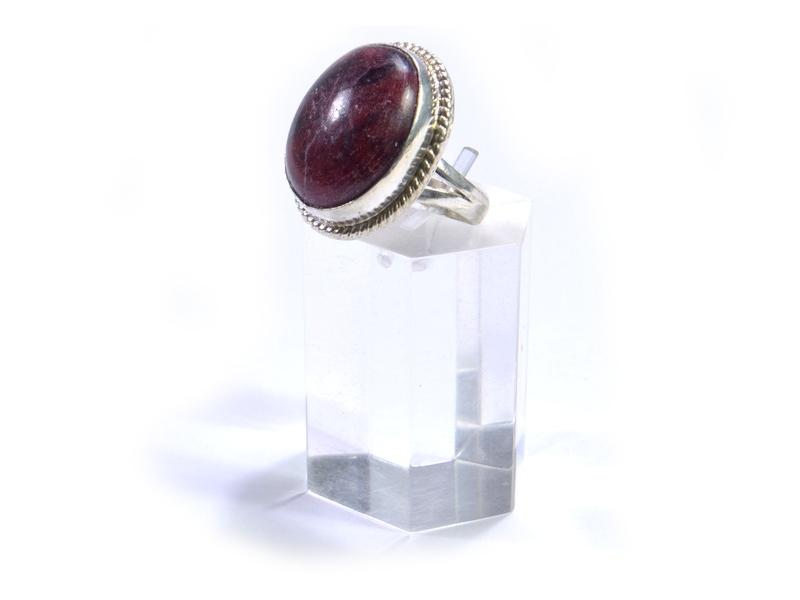 Prsten s polodrahokamem, býčí oko, postříbřený (10µm)