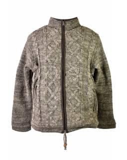 Pánský vlněný svetr, přírodní hnědá, fleecová podšívka, zapínání na zip, kapsy