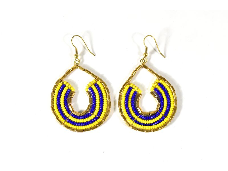Kruhové visací náušnice s žluto-modrými korálky, zlatý kov