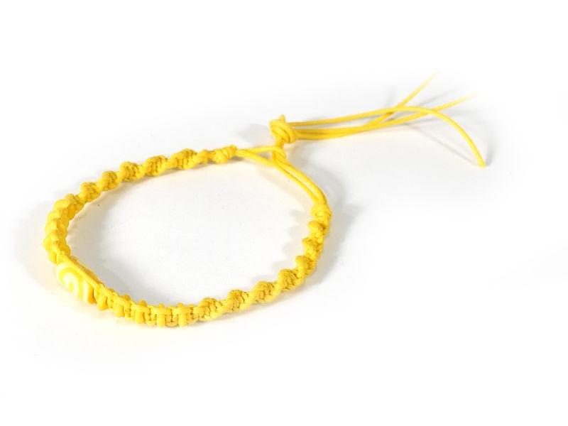 Žlutý pletený náramek se žlutými korálky, nastavitelná velikost