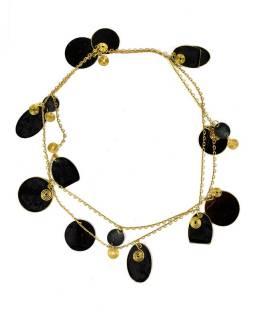 Dlouhý náhrdelník s černými a zlatými kolečky, zlatý kov