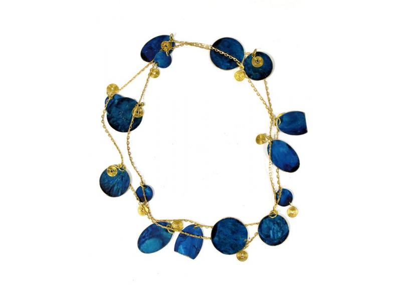 Dlouhý náhrdelník s tyrkysovými a zlatými kolečky, zlatý kov
