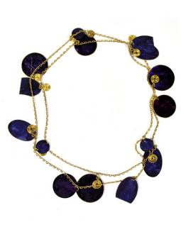 Dlouhý náhrdelník s tmavě modrými a zlatými kolečky, zlatý kov