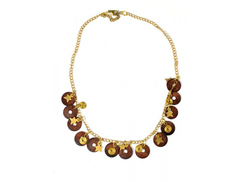 Náhrdelník se hnědými a zlatými kolečky a hvězdičkami, zlatý kov