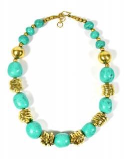Velký náhrdelník s korálky s patinou tyrkysu, zlatý kov