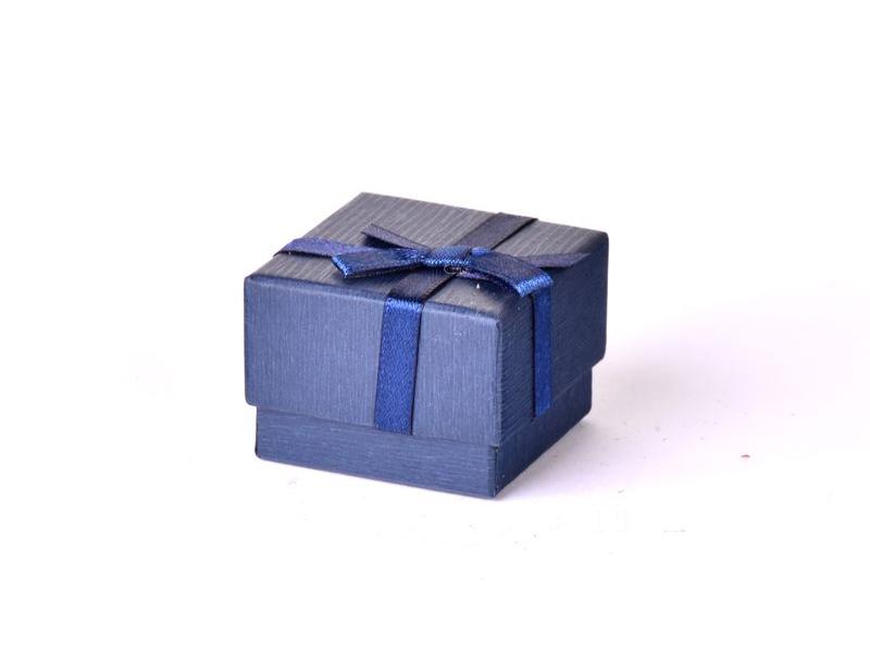 Krabička na šperky,modrá, papír, 4x4x3cm