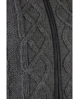 Pánský vlněný svetr, přírodní černá, fleecová podšívka, zapínání na zip, kapsy