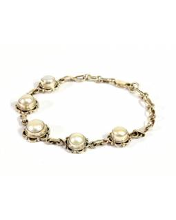 Stříbrný náramek vykládaný perlami, karabinka, délka cca 20,5cm, AG 925/1000