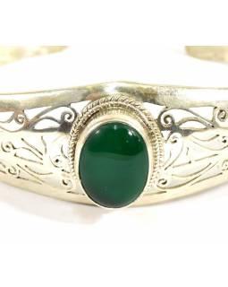 Stříbrný náramek vykládaný zeleným onyxem, nastavitelná velikost, AG 925/1000, N