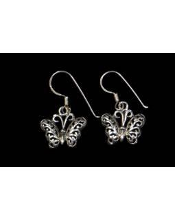 Stříbrné visací náušnice motýli, AG 925/1000