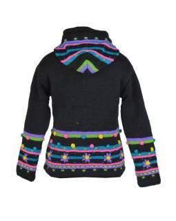 """Černý vlněný svetr  """"Black Crazy"""" s kapucí a kapsami"""