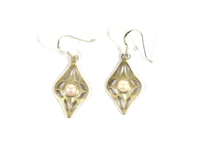 Visací náušnice vykládané perlami, perla cca 0,7cm, AG 925/1000, Nepál