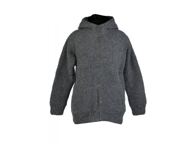 Šedý pánský vlněný svetr s kapucí a kapsami  1b3c59727e