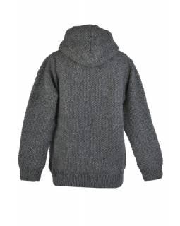 Šedý pánský vlněný svetr s kapucí a kapsami