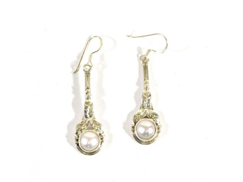 Visací náušnice vykládané perlami, cca 5,5cm, AG 925/1000, Nepál