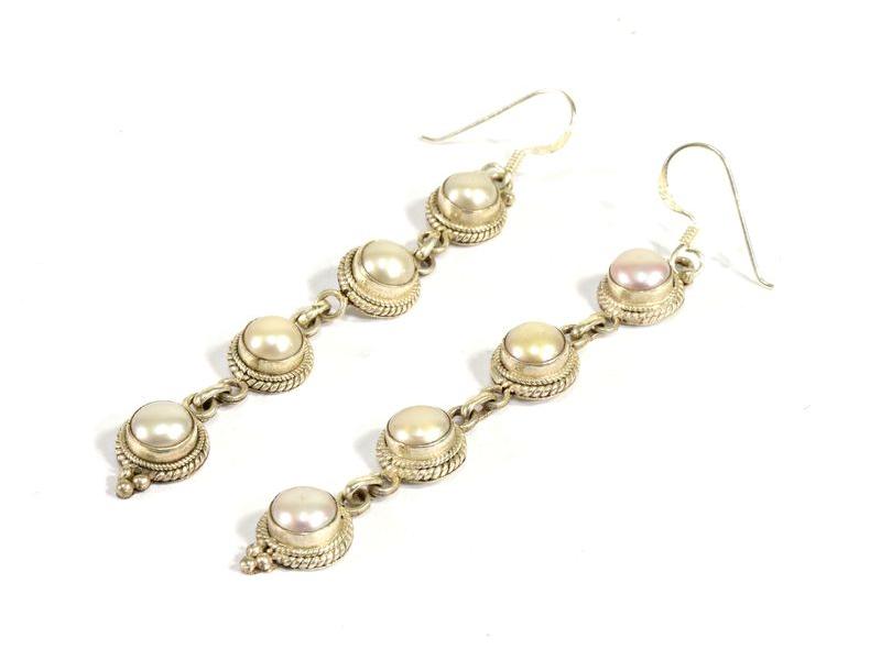 Visací náušnice vykládané perlami, cca 8cm, AG 925/1000, Nepál