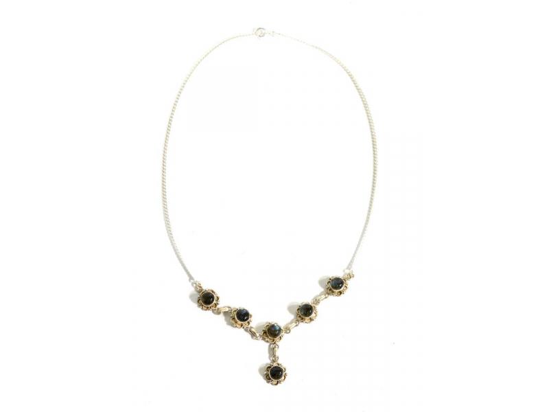 Stříbrný náhrdelník vykládaný labradoritem, karabinka, délka cca 43cm, AG 925/1