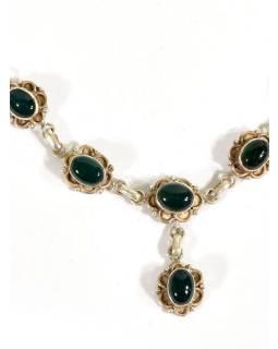 Stříbrný náhrdelník vykládaný zeleným onyxem, karabinka, délka cca 46cm, AG 925/
