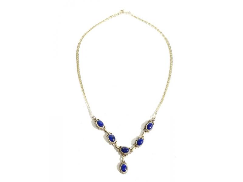 Stříbrný náhrdelník vykládaný lapisem, karabinka, délka cca 42cm, AG 925/1000
