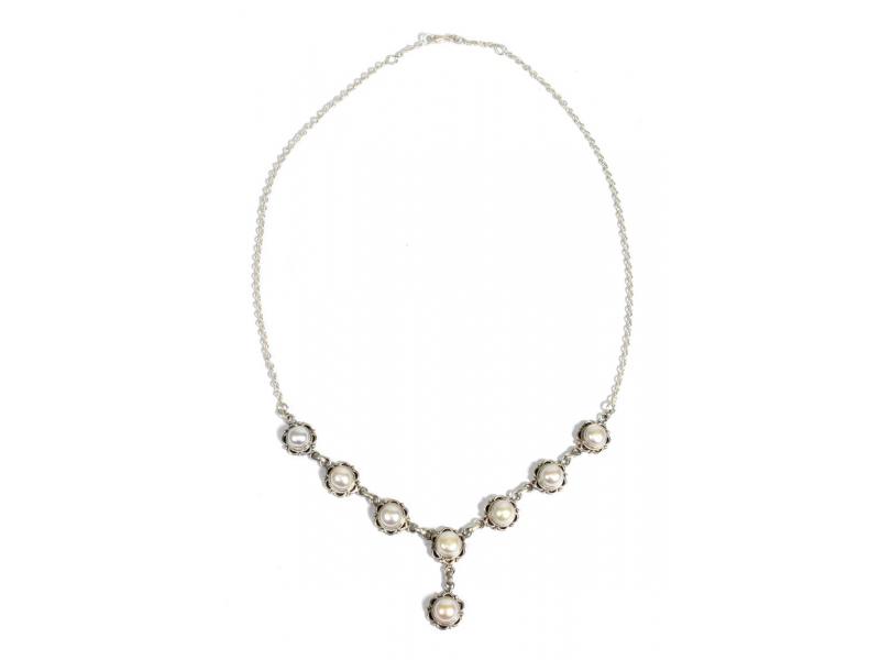 Stříbrný náhrdelník vykládaný perlami, karabinka, délka cca 52cm, AG 925/1000