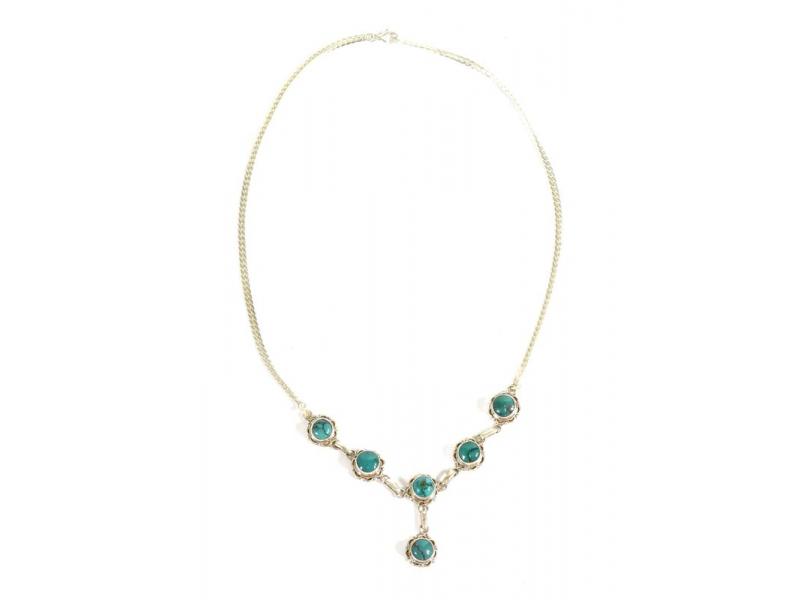 Stříbrný náhrdelník vykládaný tyrkysem, karabinka, délka cca 49cm, AG 925/1000