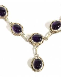 Stříbrný náhrdelník vykládaný ametystem, karabinka, délka cca 49cm, AG 925/1000
