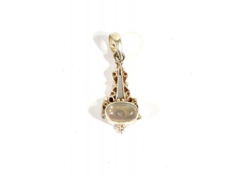 Stříbrný přívěsek vykládaný měsíčním kamenem, kámen cca 1 cm, AG 925/1000