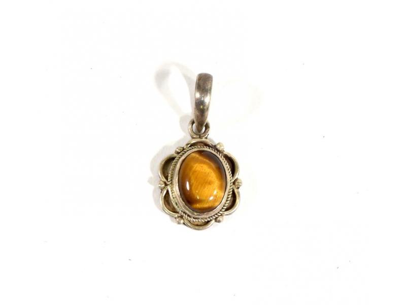 Stříbrný přívěsek vykládaný tygřím okem, kámen cca 1 cm, AG 925/1000