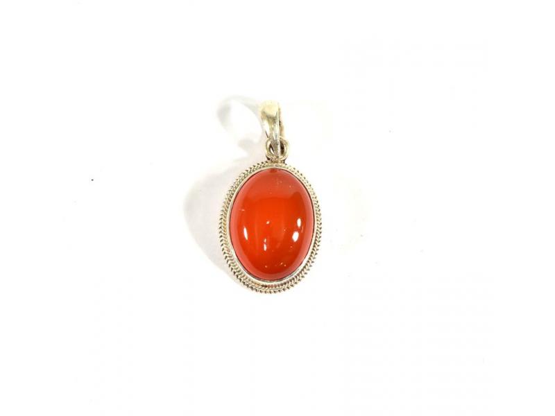 Stříbrný přívěsek vykládaný oranžovým onyxem, kámen cca 1,5 cm, AG 925/1000