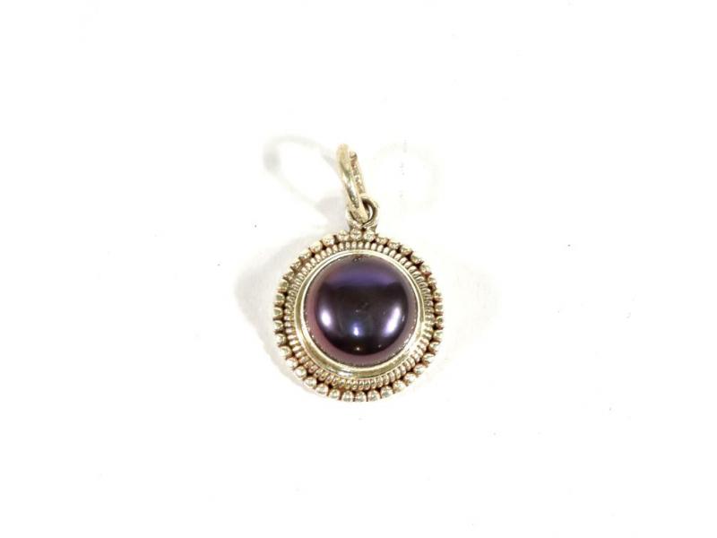 Stříbrný přívěsek vykládaný černou perlou, perla cca 1 cm, AG 925/1000