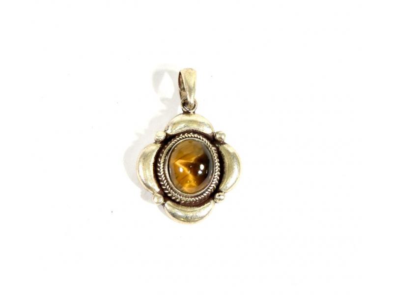 Stříbrný přívěsek vykládaný tygřím okem, kámen cca 1cm, AG 925/1000
