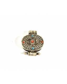 Stříbrný talisman vykládaný tyrkenitem a korálem, cca 2cm, AG 925/1000