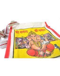 Plátěná taška přes rameno s barevným tiskem Ganesha, 23x28x8cm